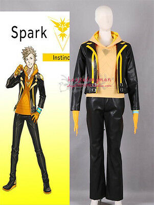 Anime Pokemon Go Yellow Team Captain Spark Male Cosplay Costume Black Jacket](Male Anime Costume)