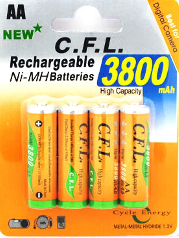 4X AA wiederaufladbar 3800mAh NI-MH Batterie rechargeable 4 STÜCK