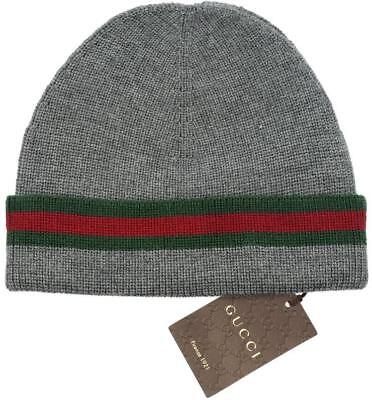 NEW GUCCI KNIT WOOL SILK WEB DETAIL BEANIE HAT 100% AUTHENTIC 57/SMALL