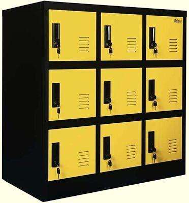 Yellow Cabinet Locking Heavy Duty Storage Home School Office Furniture 9 Drawers