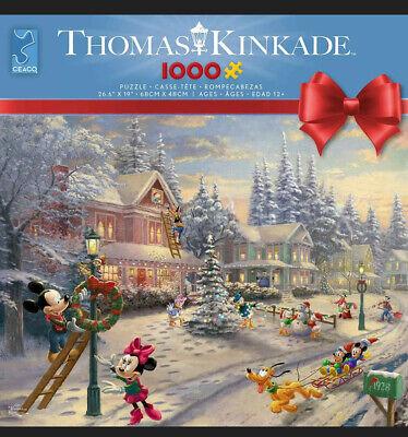 Ceaco Disney Thomas Kinkade MICKEY'S VICTORIAN CHRISTMAS 1000 Pc Jigsaw Puzzle