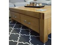 Solid oak coffee table with 4 drawers