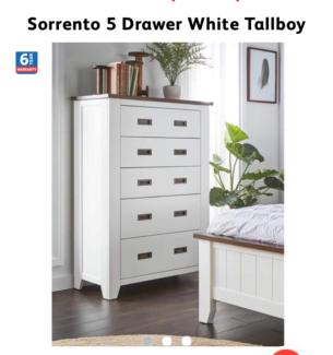 NEW SORRENTO 5 DRAWER WHITE TALLBOY .