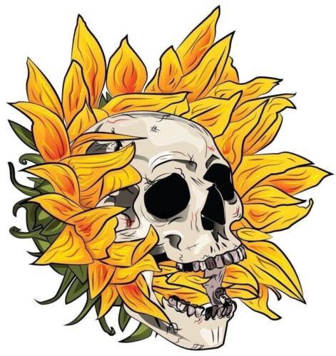 "Home Decoration - 3"" Sunflower Psychedelic Skull Skeleton Biker Goth Flower Vinyl Cool Sticker"