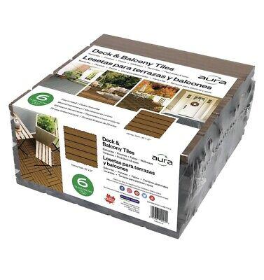 Lot Of 2 Aura 12 in W x 12 in L Honey Teak Composite Balcony/Deck Tiles 12 Tiles Teak Deck Tiles