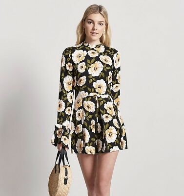 NWT FOREVER 21 CONTEMPORARY Floral High Neck Bell Sleeve Pleat Romper Jumpsuit M