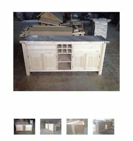 Solid Pine Island Unit with wine rack and full width shelf