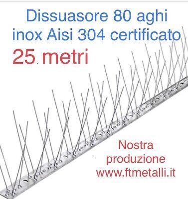 25 MT DISSUASORE PER VOLATILI PICCIONI FLESSIBILE 80 SPILLI INOX ASTE DA 1 MT