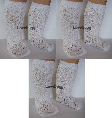 "Lovvbugg  3 Prs White Lattice Diamond Socks Stockings for 18"" American Girl Doll Clothes"
