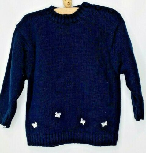 JACADI Baby Girl Cotton Sweater w/Embroidered Butterflies, Navy Blue, size 4T