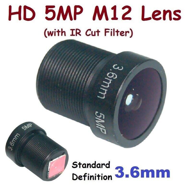 "Sunvision 1/2.5"" HD 5MP Monofocal 3.6mm 92° M12 Board Lens + IR Cut Filter FPV"