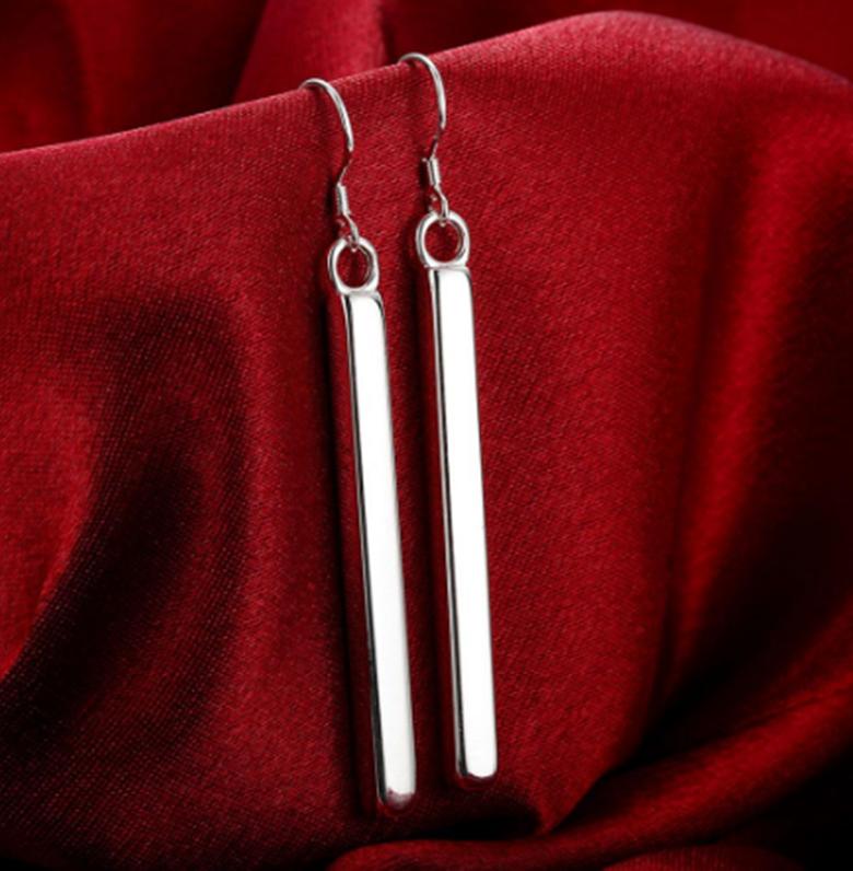 Womens 925 Sterling Silver Long Vertical Bar Drop Dangle Fas
