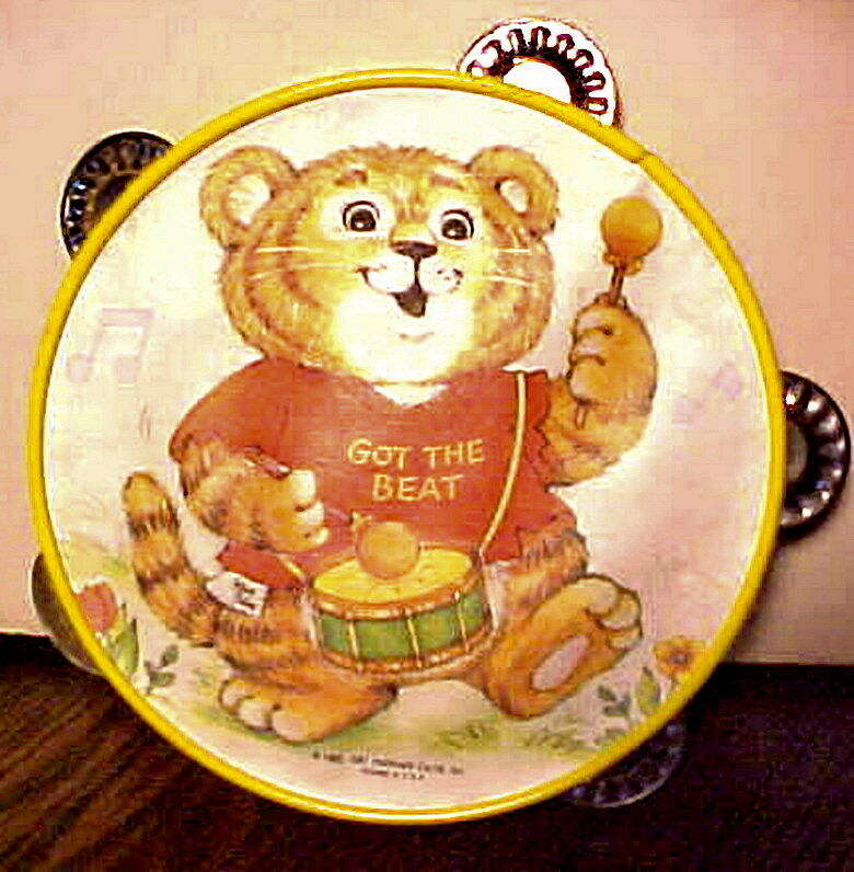 "RARE VINTAGE 1981 HALLMARK ""GOT THE BEAT"" CHILDS TOY BEAR TAMBOURINE, VERY GOOD"