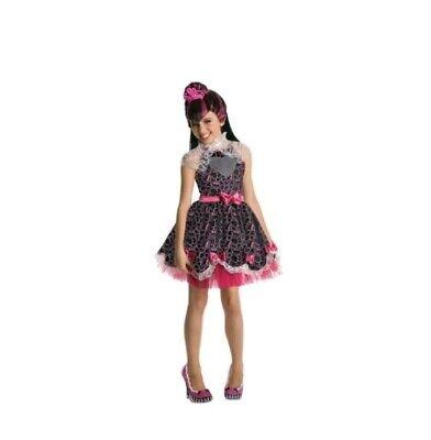 Monster High Costume For Girls (New Draculaura Sweet 1600 Monster High Deluxe Costume w/ Wig Girls 8-10 Size L)