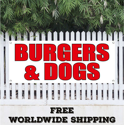 BURGERS & DOGS Advertising Vinyl Banner Flag Sign Hot Dogs Chili Fast Food