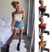 XL, Black Women Breast Wrap Solid Strapless Elastic Boob Bandeau Tube Tops Bra Cami Crop Tops for Teen Girls