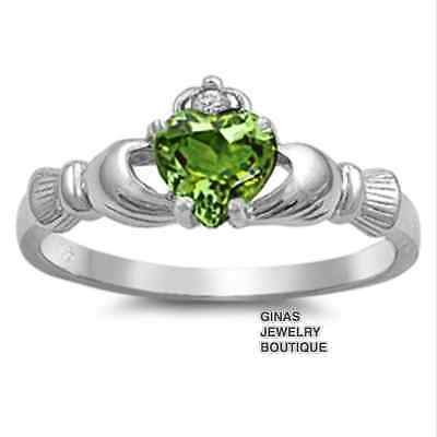 CLADDAGH RING Peridot August BIRTHSTONE CELTIC Genuine Sterling Silver 4 - 12
