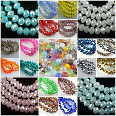 Wholesale Glass Crystal Faceted Rondelle Spacer Loose Beads 3mm/4mm/6mm/8mm - Faceted Glass Crystal Beads