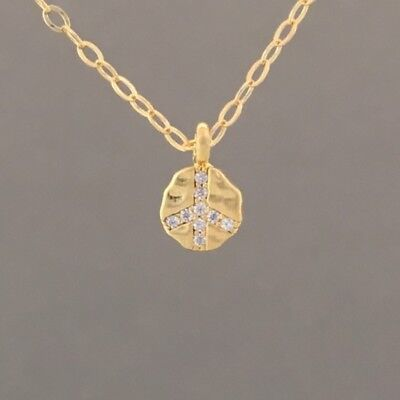 Small Crystal Peace Sign Gold Necklace Also Available in Silver and Rose Gold