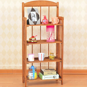 Folding Wooden Display Bookshelf Bookcase Shelves Storage Units 4-Tier