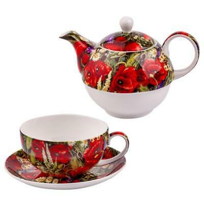 English poppies set of cup and teapot Fine Bone China LANCASTER in gift box New for sale  Shipping to Canada