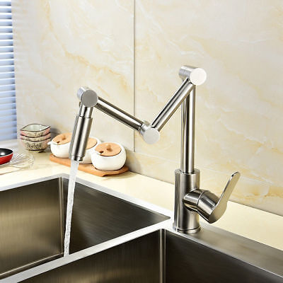 Articulating Kitchen Sink Faucet - Stainless Steel 1-Handle Articulating Pot Filler Kitchen Sink Faucet Deck Mount