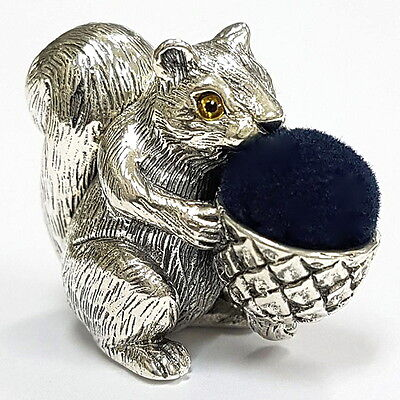 VICTORIAN STYLE SQUIRREL HOLDING ACORN PIN CUSHION SOLID SILVER HALLMARKED