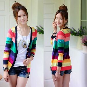 New-Women-Korean-Fashion-Colorful-stripes-deep-V-neck-knit-cardigan-Sweater-H165