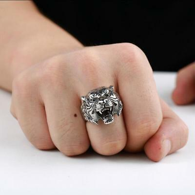 Ring Boy Gifts (Men's Stainless Steel Gothic Punk Tiger Head Boy Biker Finger Ring Jewelry)