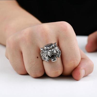 Men's Stainless Steel Gothic Punk Tiger Head Boy Biker Finger Ring Jewelry Gift
