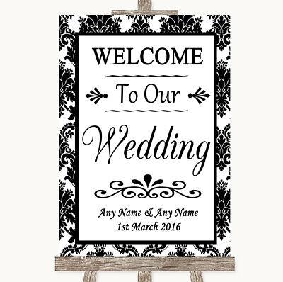 Wedding Sign Poster Print Black & White Damask Welcome To Our Wedding - Welcome To Our Wedding Sign