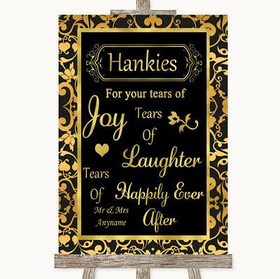 Black And Gold Wedding Decorations (Wedding Sign Poster Print Black & Gold Damask Hankies And)