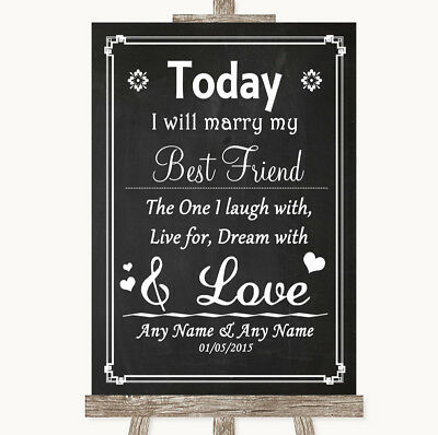 Wedding Sign Poster Print Chalk Style Today I Marry My Best Friend](Marry My Best Friend)