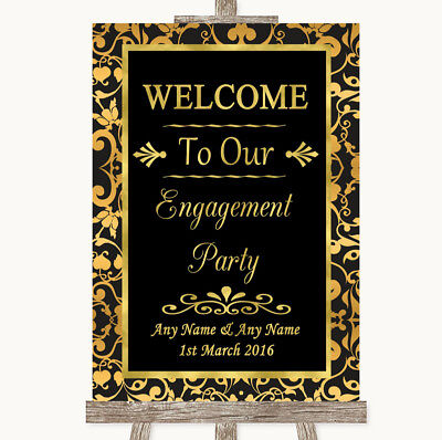 Wedding Sign Poster Print Black & Gold Damask Welcome To Our Engagement Party - Welcome To Our Wedding Sign
