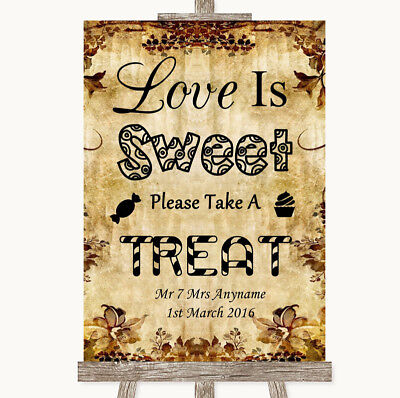 Wedding Sign Autumn Vintage Love Is Sweet Take A Treat Candy Buffet - Fall Candy Buffet