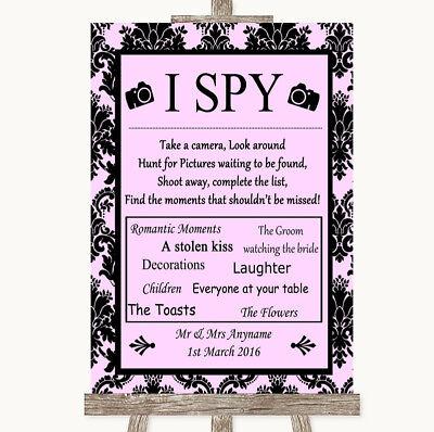 Wedding Sign Poster Print Baby Pink Damask I Spy Disposable Camera](Spy Baby Bridal)