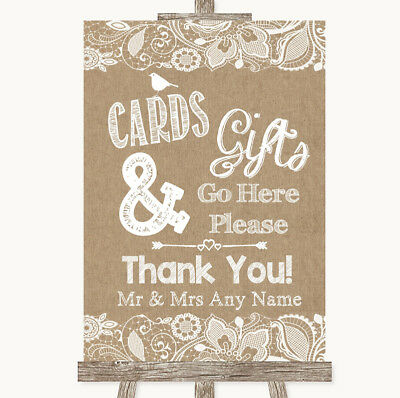 Wedding Sign Poster Print Burlap & Lace Cards & Gifts Table - Gift Table Sign
