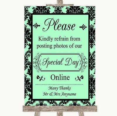 Wedding Sign Mint Green Damask Don't Post Photos Online Social Media