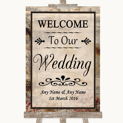 Wedding Sign Poster Print Vintage Welcome To Our Wedding - Welcome To Our Wedding Sign