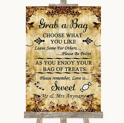 Autumn Vintage Grab A Bag Candy Buffet Cart Sweets Personalised Wedding Sign - Fall Candy Buffet