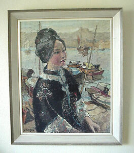 Rare Framed Print Lady of the Sampans Signed  Constantin Kluge Kamloops British Columbia image 1