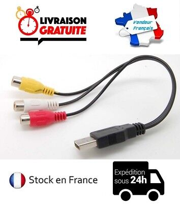 Cable USB 3 Rca Hembra 30CM Nuevo Adaptador Audio Video Av HDTV...