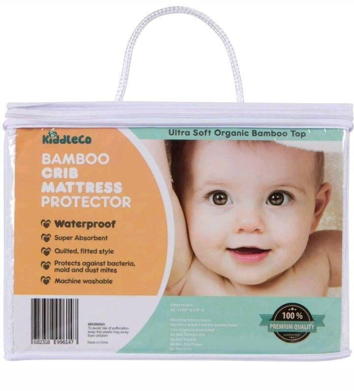Kiddleco Bamboo Baby Crib Mattress Protector Waterproof Soft Organic Ships FREE