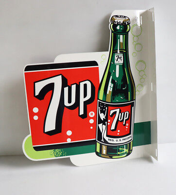 7UP Soda Pop With BOTTLE FLANGE SIGN    modern retro  7 up    swimsuit girl