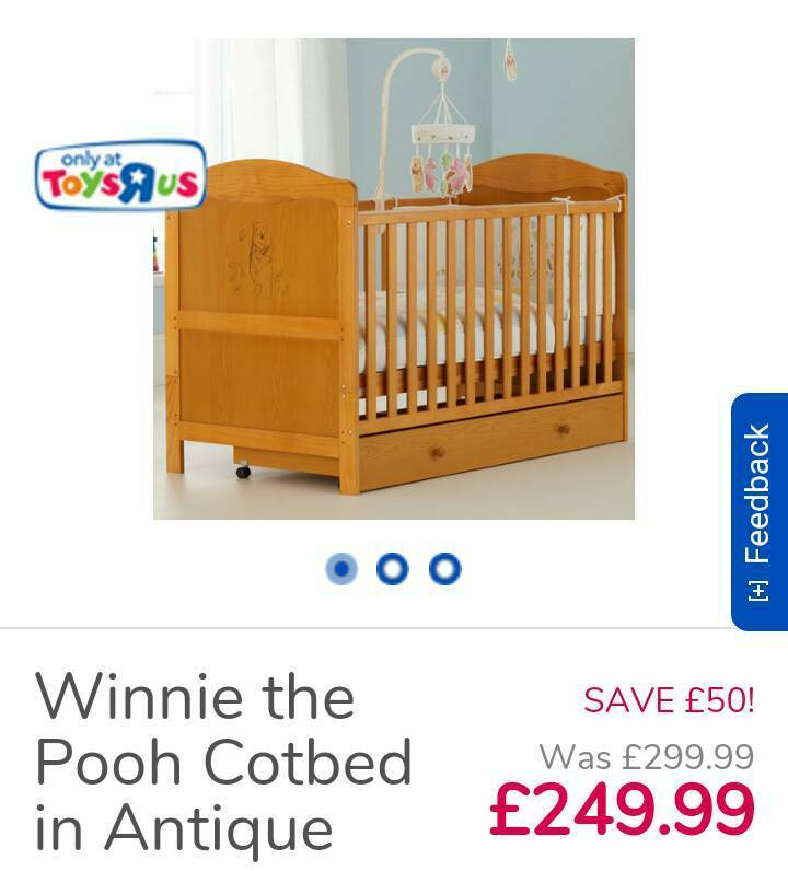 Antique Pine Winnie The Pooh Cot Bed With Drawer In