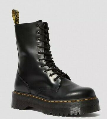 NIB Dr Martens JADON HI 10-Eye Boot US 8 (UK 6) Black Polished Smooth