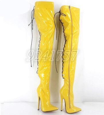 TOP Plusgröße Lackleder Damenschuhe Stiefel 18cm Stiletto Fersenriemen Kniehohe (Plus Größe Damen Stiefel)