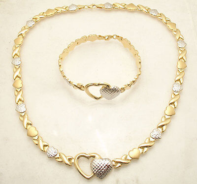 Diamond Cut Hearts & Kisses Bracelet Necklace Set 14K Two-Tone Gold Clad Silver