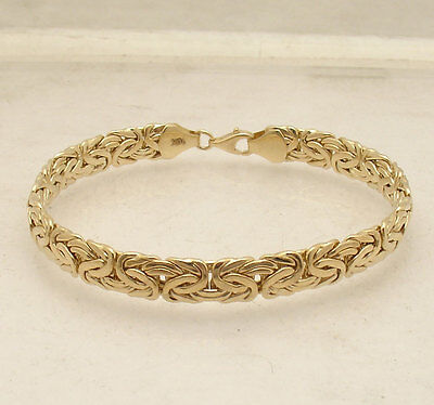 """7.5""""  All Shiny Byzantine Bracelet with Lobster Lock Real 10K Yellow Gold"""
