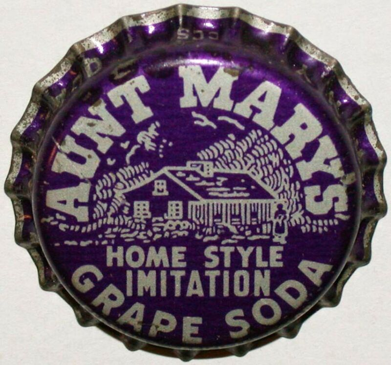 Vintage soda pop bottle cap AUNT MARYS GRAPE cork lined unused new old stock